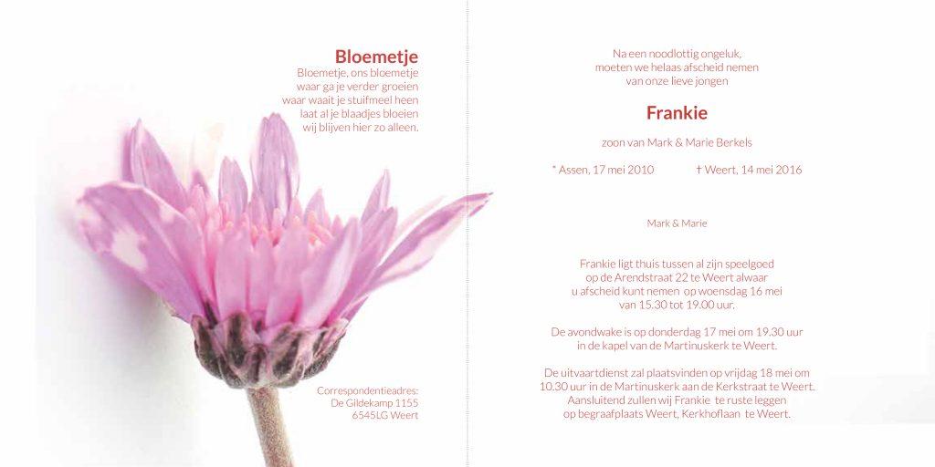 rouwkaart, kind, baby, bloemen